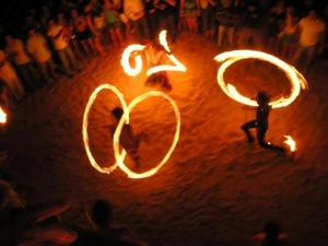 Fire dancers show cancun